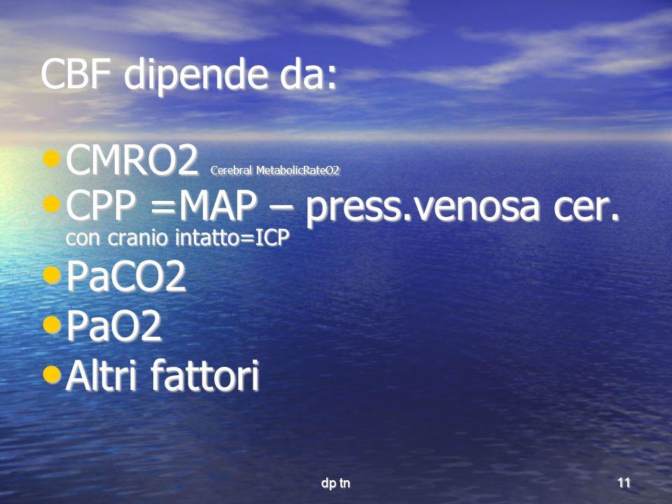 dp tn11 CBF dipende da: CMRO2 Cerebral MetabolicRateO2 CMRO2 Cerebral MetabolicRateO2 CPP =MAP – press.venosa cer. con cranio intatto=ICP CPP =MAP – p