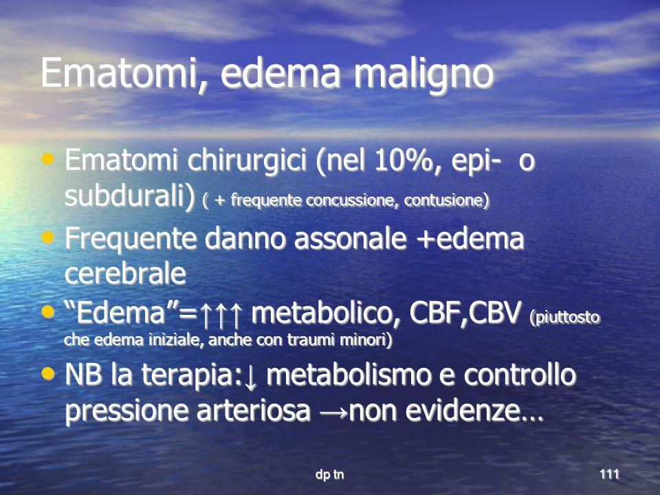 dp tn111 Ematomi, edema maligno Ematomi chirurgici (nel 10%, epi- o subdurali) ( + frequente concussione, contusione) Ematomi chirurgici (nel 10%, epi