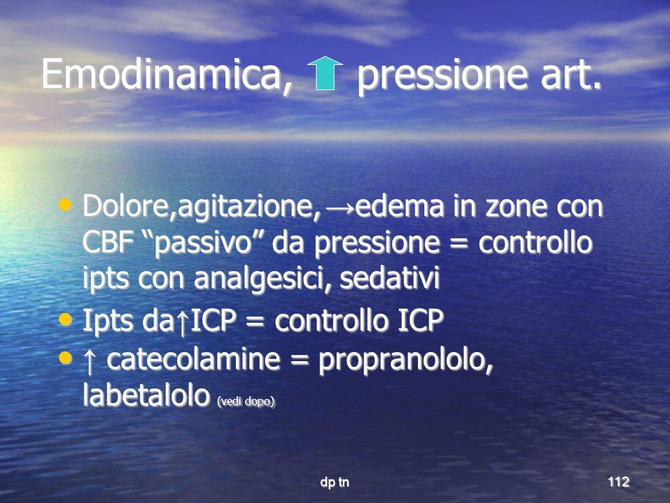 dp tn112 Emodinamica, pressione art. Dolore,agitazione, edema in zone con CBF passivo da pressione = controllo ipts con analgesici, sedativi Dolore,ag