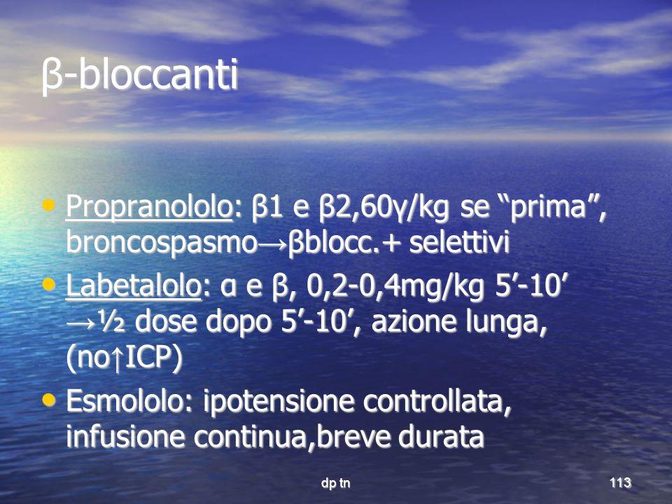 dp tn113 β-bloccanti Propranololo: β1 e β2,60γ/kg se prima, broncospasmo βblocc.+ selettivi Propranololo: β1 e β2,60γ/kg se prima, broncospasmo βblocc