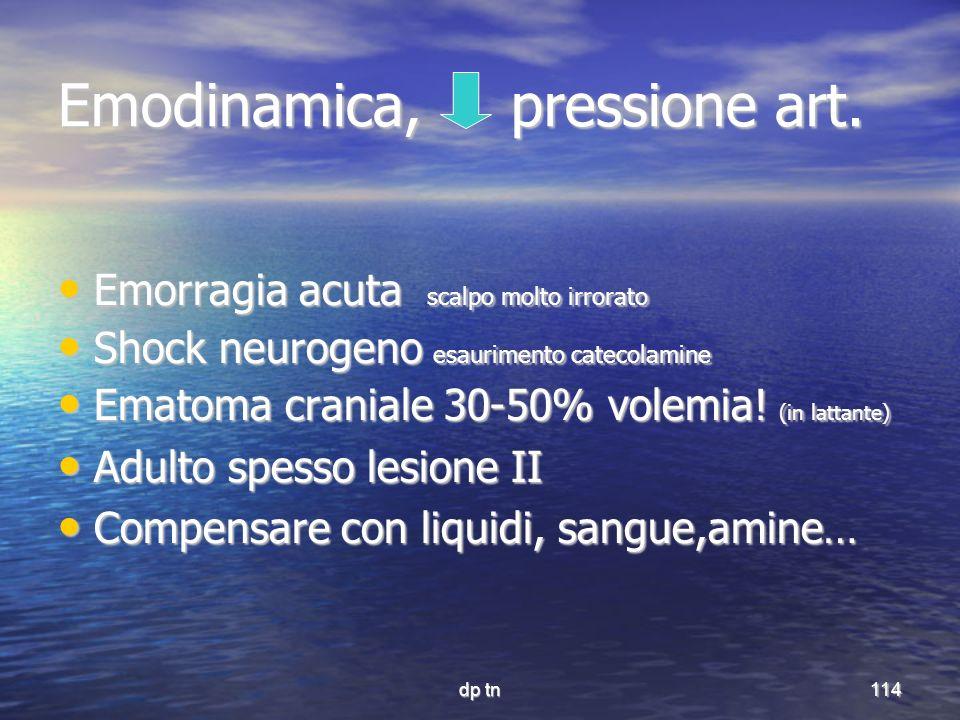 dp tn114 Emodinamica, pressione art. Emorragia acuta scalpo molto irrorato Emorragia acuta scalpo molto irrorato Shock neurogeno esaurimento catecolam