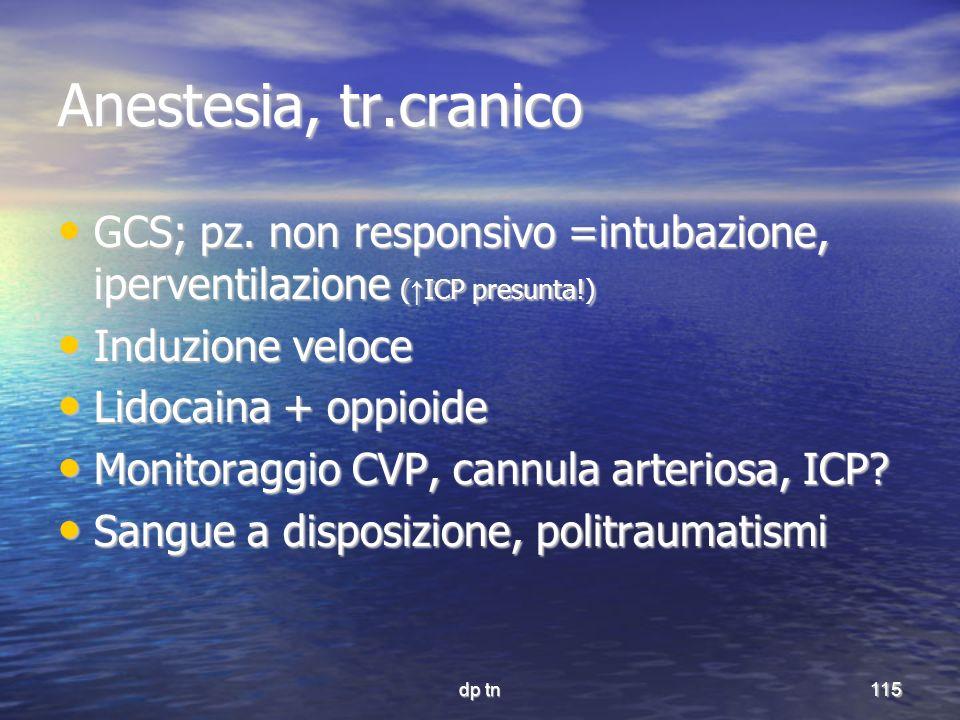 dp tn115 Anestesia, tr.cranico GCS; pz. non responsivo =intubazione, iperventilazione ( ICP presunta!) GCS; pz. non responsivo =intubazione, iperventi