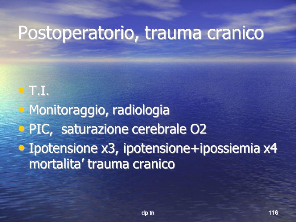 dp tn116 Postoperatorio, trauma cranico T.I. T.I. Monitoraggio, radiologia Monitoraggio, radiologia PIC, saturazione cerebrale O2 PIC, saturazione cer