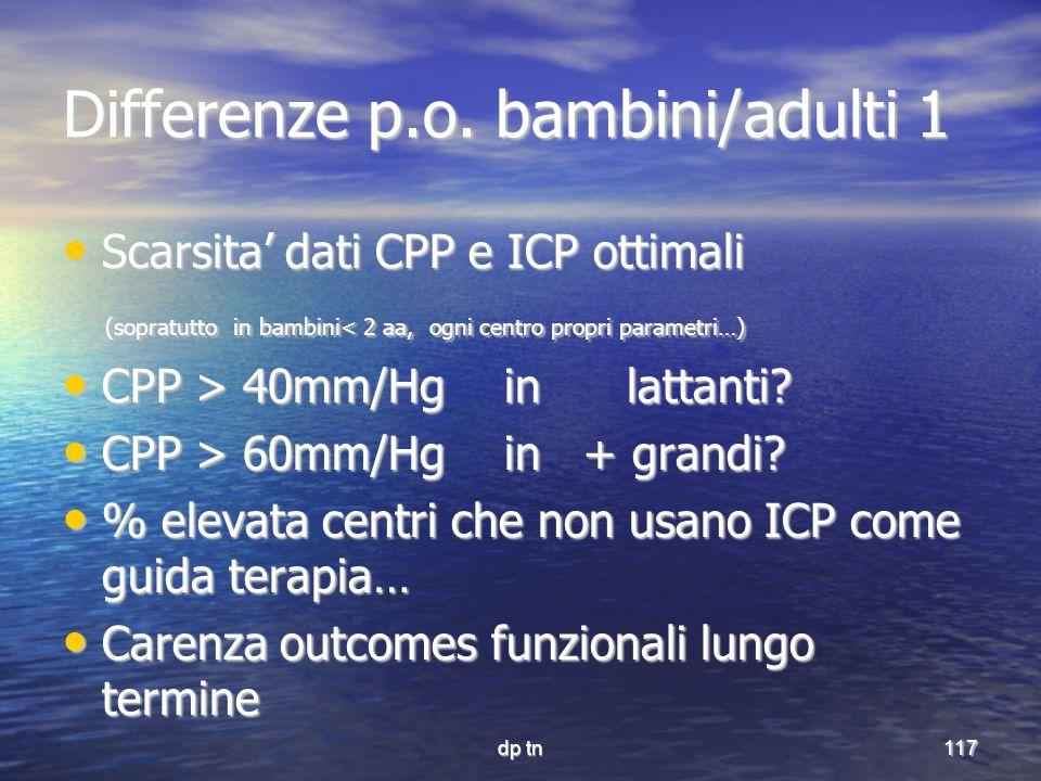dp tn117 Differenze p.o. bambini/adulti 1 Scarsita dati CPP e ICP ottimali Scarsita dati CPP e ICP ottimali (sopratutto in bambini< 2 aa, ogni centro