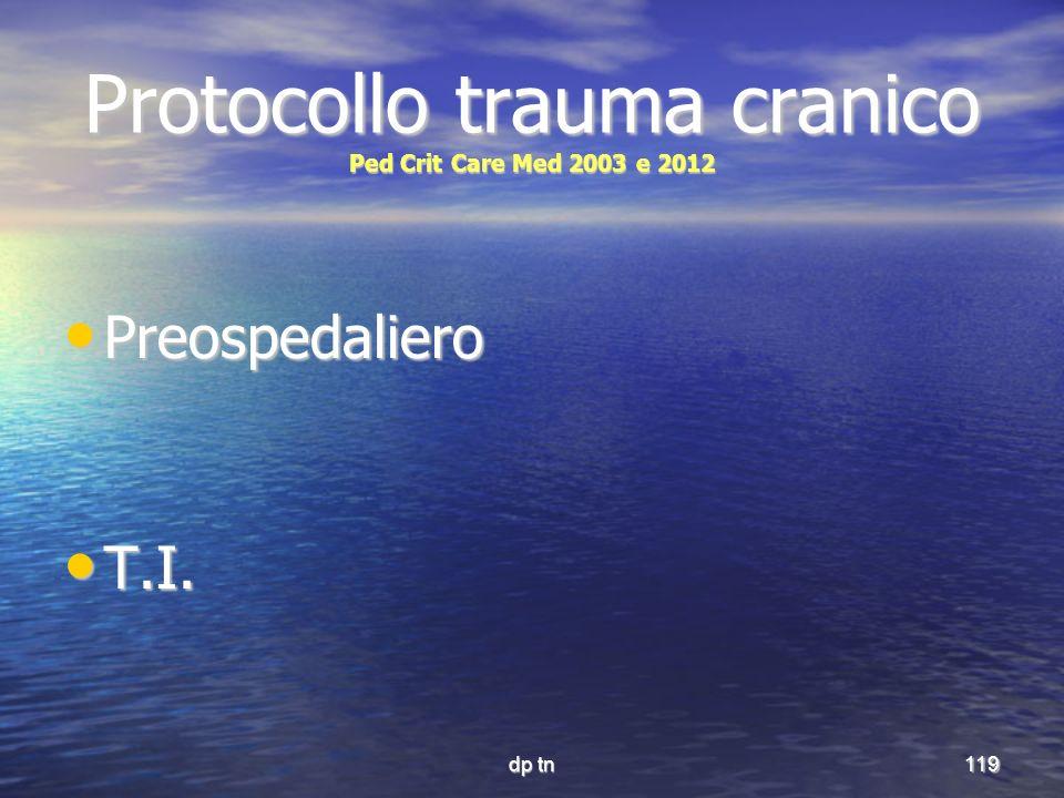 dp tn119 Protocollo trauma cranico Ped Crit Care Med 2003 e 2012 Preospedaliero Preospedaliero T.I. T.I.