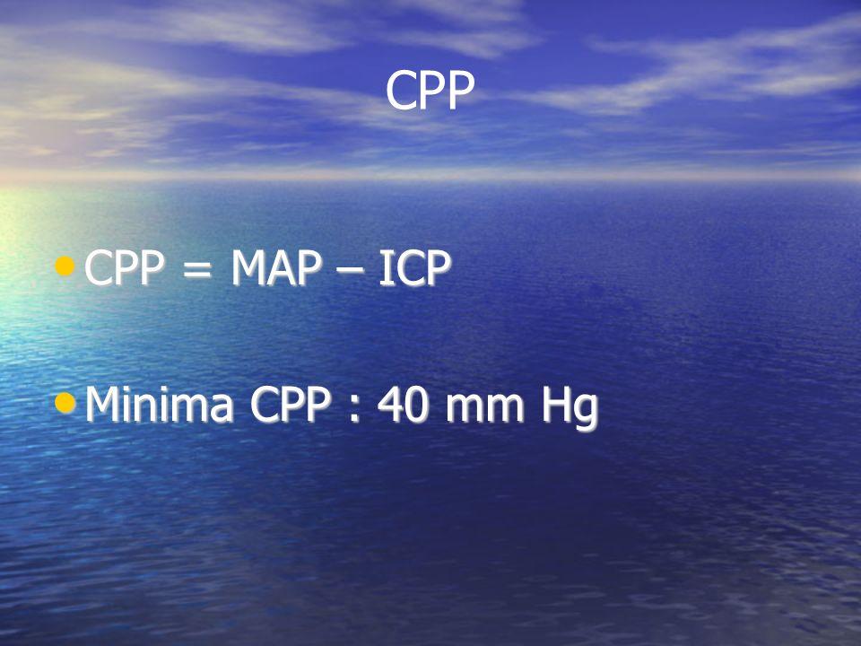 CPP CPP = MAP – ICP CPP = MAP – ICP Minima CPP : 40 mm Hg Minima CPP : 40 mm Hg