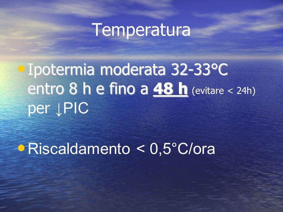 Temperatura Ipotermia moderata 32-33°C entro 8 h e fino a 48 h Ipotermia moderata 32-33°C entro 8 h e fino a 48 h (evitare < 24h) per PIC Riscaldament