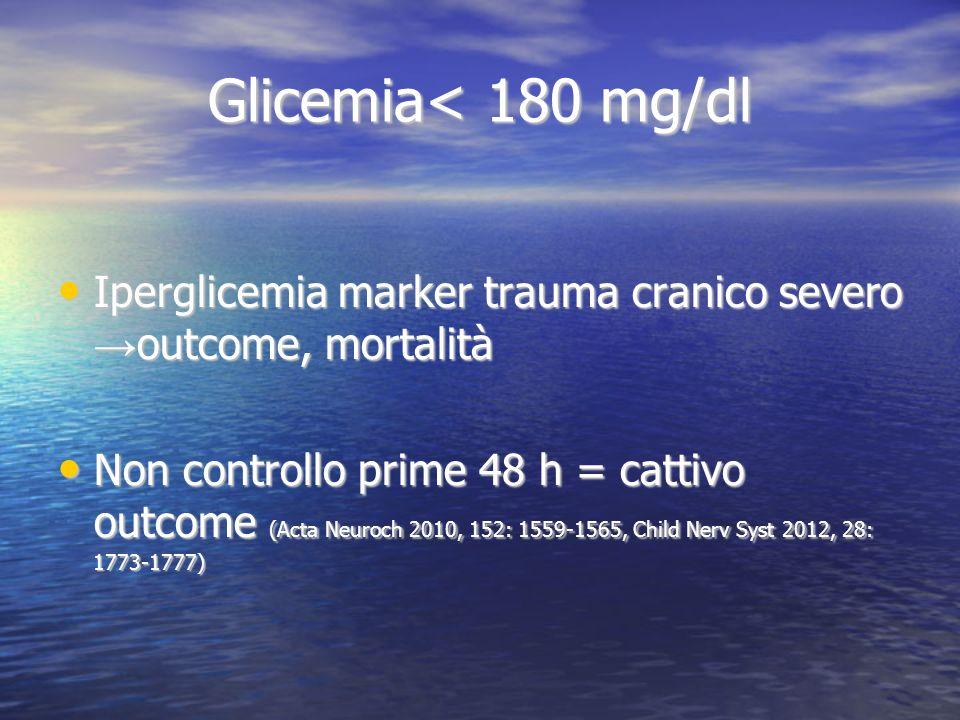 Glicemia< 180 mg/dl Iperglicemia marker trauma cranico severo outcome, mortalità Iperglicemia marker trauma cranico severo outcome, mortalità Non cont