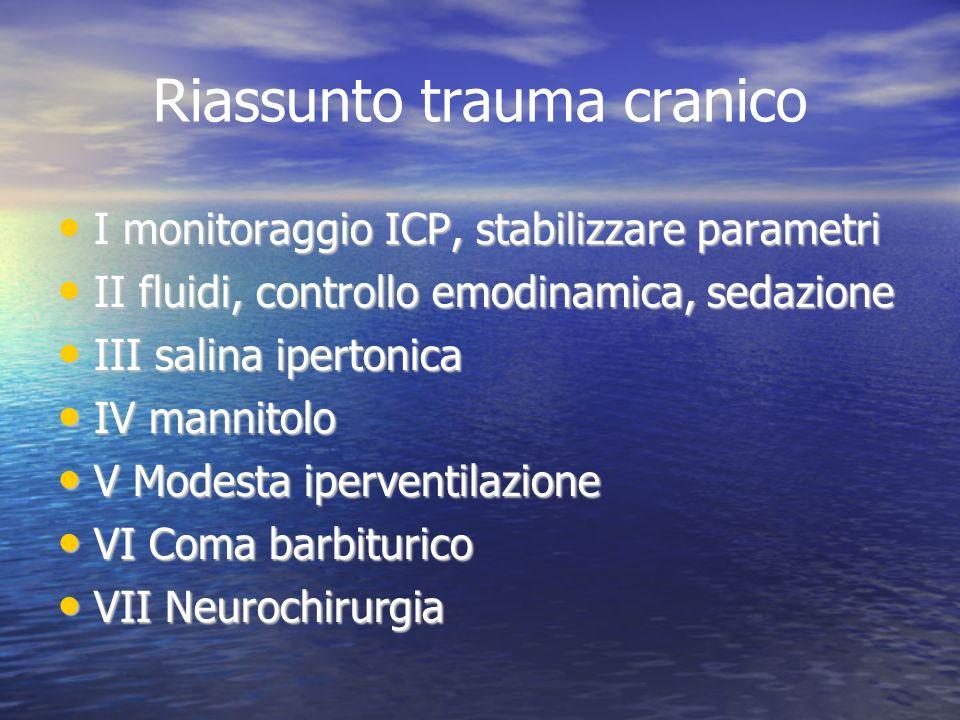 Riassunto trauma cranico I monitoraggio ICP, stabilizzare parametri I monitoraggio ICP, stabilizzare parametri II fluidi, controllo emodinamica, sedaz