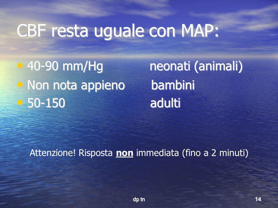 dp tn14 CBF resta uguale con MAP: 40-90 mm/Hg neonati (animali) 40-90 mm/Hg neonati (animali) Non nota appieno bambini Non nota appieno bambini 50-150