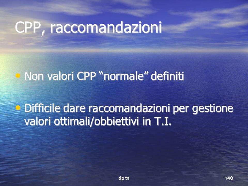 dp tn140 CPP, raccomandazioni Non valori CPP normale definiti Non valori CPP normale definiti Difficile dare raccomandazioni per gestione valori ottim