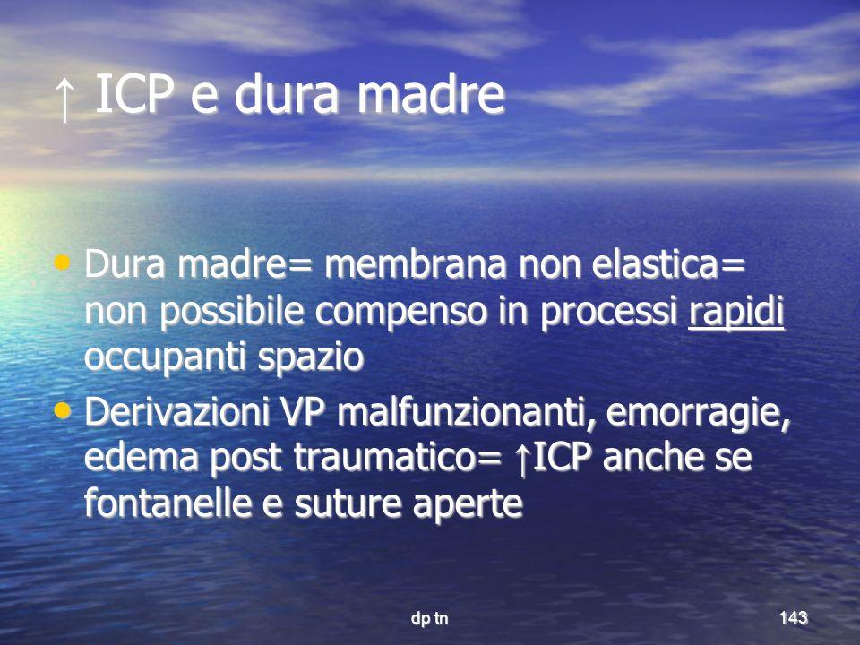 dp tn143 ICP e dura madre ICP e dura madre Dura madre= membrana non elastica= non possibile compenso in processi rapidi occupanti spazio Dura madre= m