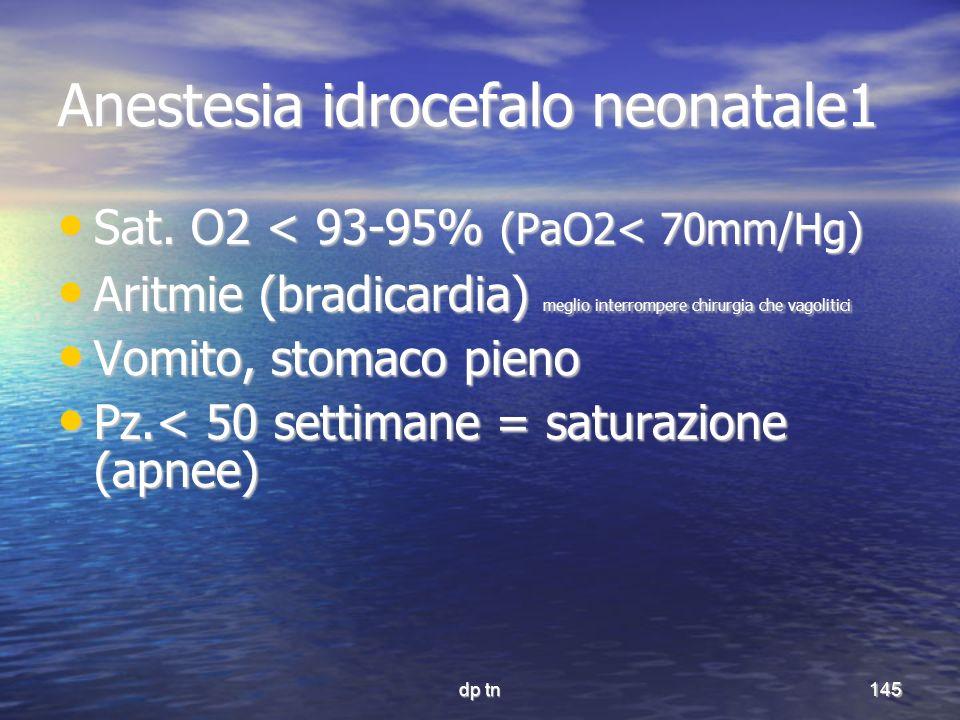 dp tn145 Anestesia idrocefalo neonatale1 Sat. O2 < 93-95% (PaO2< 70mm/Hg) Sat. O2 < 93-95% (PaO2< 70mm/Hg) Aritmie (bradicardia) meglio interrompere c