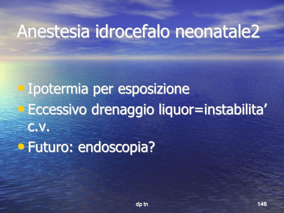 dp tn146 Anestesia idrocefalo neonatale2 Ipotermia per esposizione Ipotermia per esposizione Eccessivo drenaggio liquor=instabilita c.v. Eccessivo dre