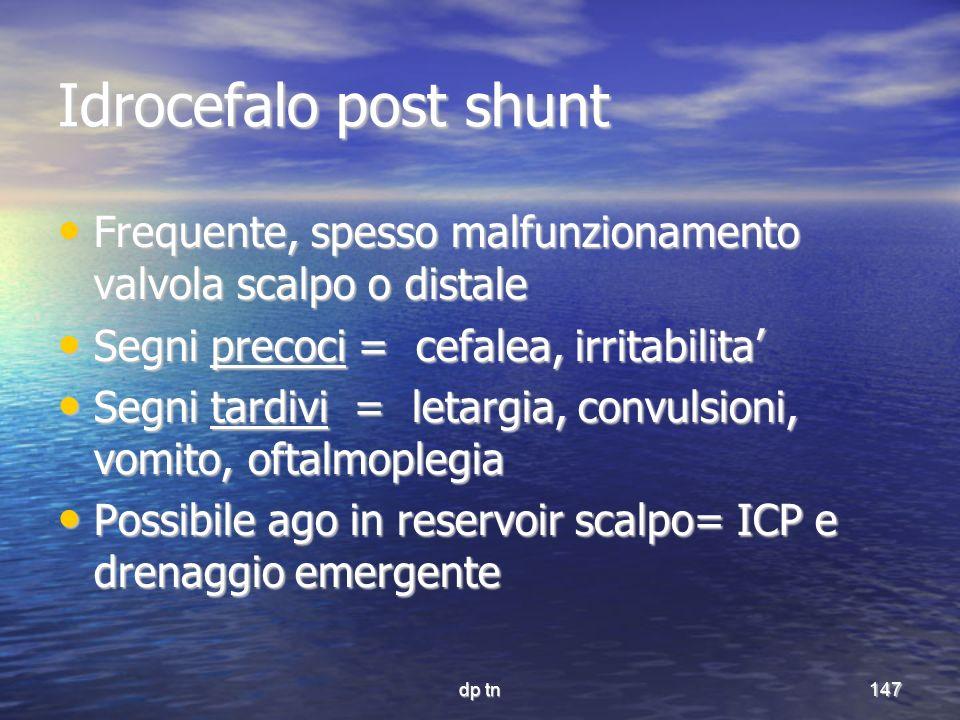 dp tn147 Idrocefalo post shunt Frequente, spesso malfunzionamento valvola scalpo o distale Frequente, spesso malfunzionamento valvola scalpo o distale