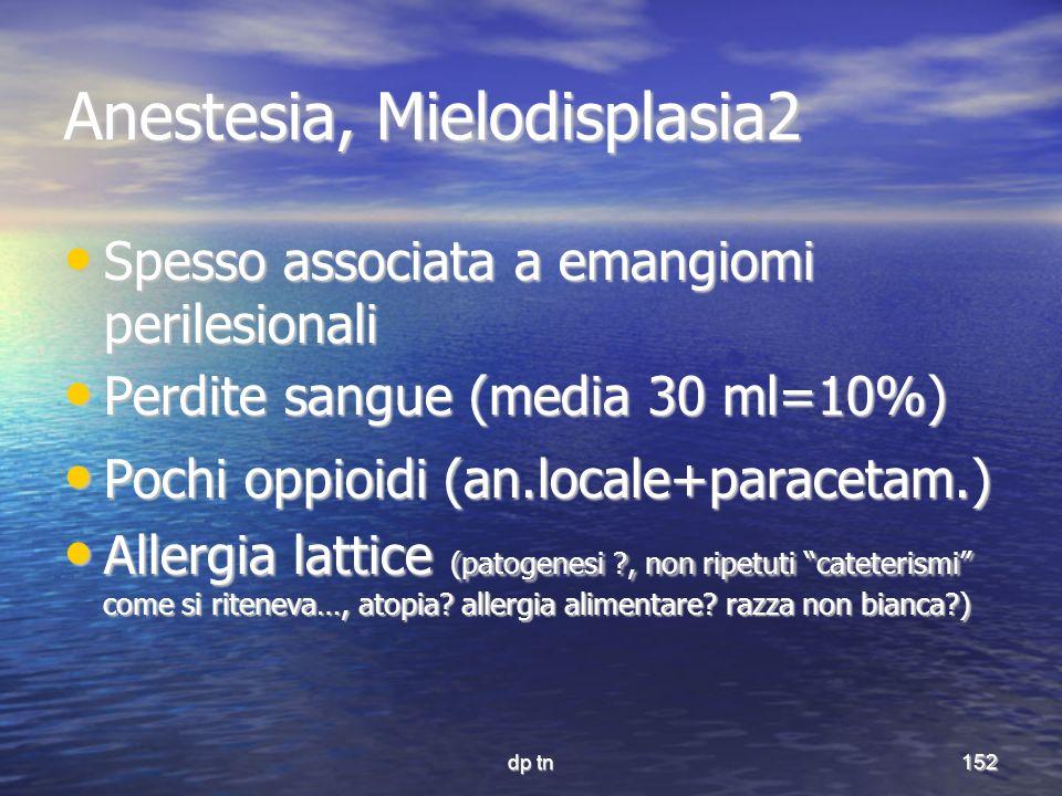 dp tn152 Anestesia, Mielodisplasia2 Spesso associata a emangiomi perilesionali Spesso associata a emangiomi perilesionali Perdite sangue (media 30 ml=
