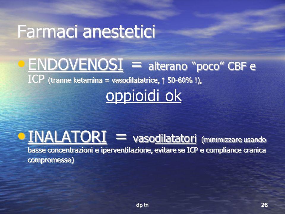 dp tn26 Farmaci anestetici ENDOVENOSI = alterano poco CBF e ICP (tranne ketamina = vasodilatatrice, 50-60% !), ENDOVENOSI = alterano poco CBF e ICP (t