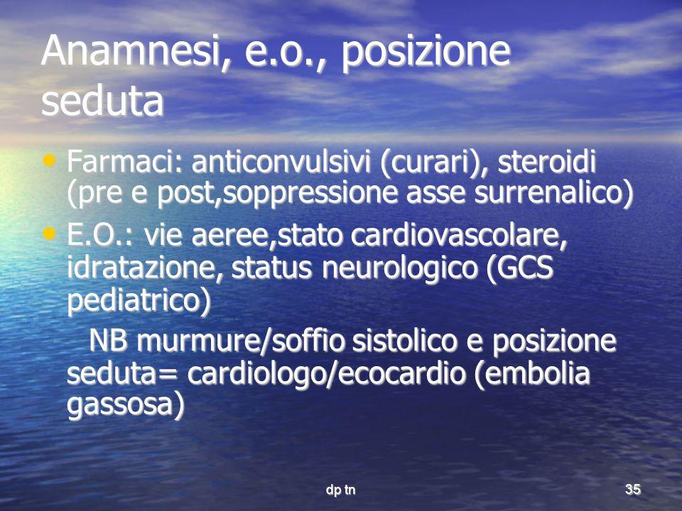 dp tn35 Anamnesi, e.o., posizione seduta Farmaci: anticonvulsivi (curari), steroidi (pre e post,soppressione asse surrenalico) Farmaci: anticonvulsivi