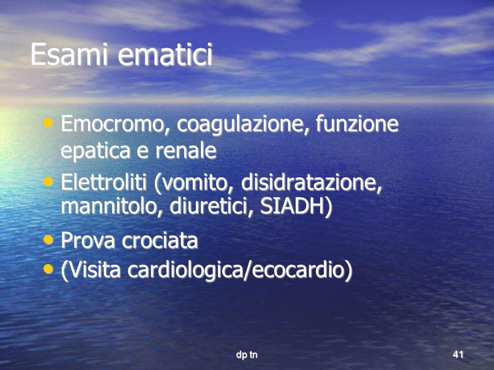 dp tn41 Esami ematici Emocromo, coagulazione, funzione epatica e renale Emocromo, coagulazione, funzione epatica e renale Elettroliti (vomito, disidra