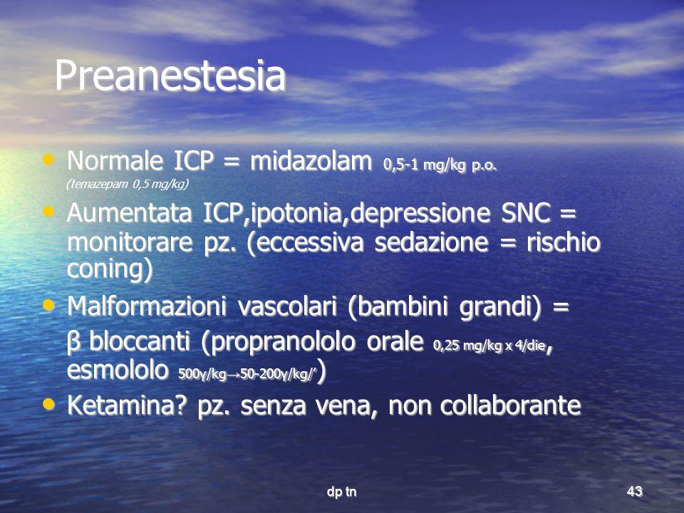 dp tn43 Preanestesia Preanestesia Normale ICP = midazolam 0,5-1 mg/kg p.o. Normale ICP = midazolam 0,5-1 mg/kg p.o. (temazepam 0,5 mg/kg) Aumentata IC