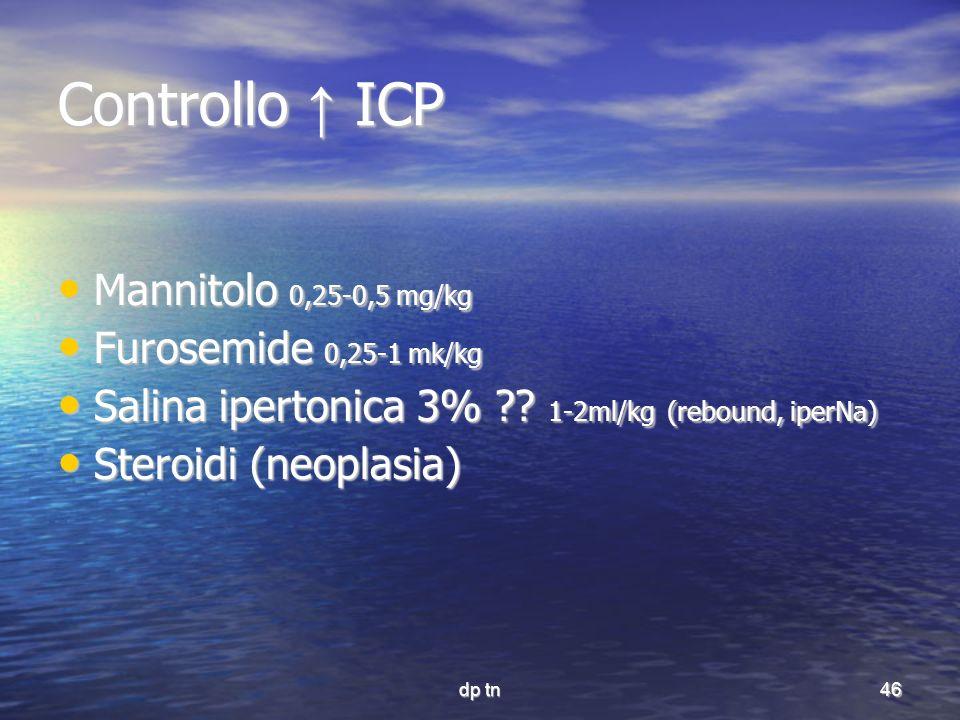 dp tn46 Controllo ICP Mannitolo 0,25-0,5 mg/kg Mannitolo 0,25-0,5 mg/kg Furosemide 0,25-1 mk/kg Furosemide 0,25-1 mk/kg Salina ipertonica 3% ?? 1-2ml/