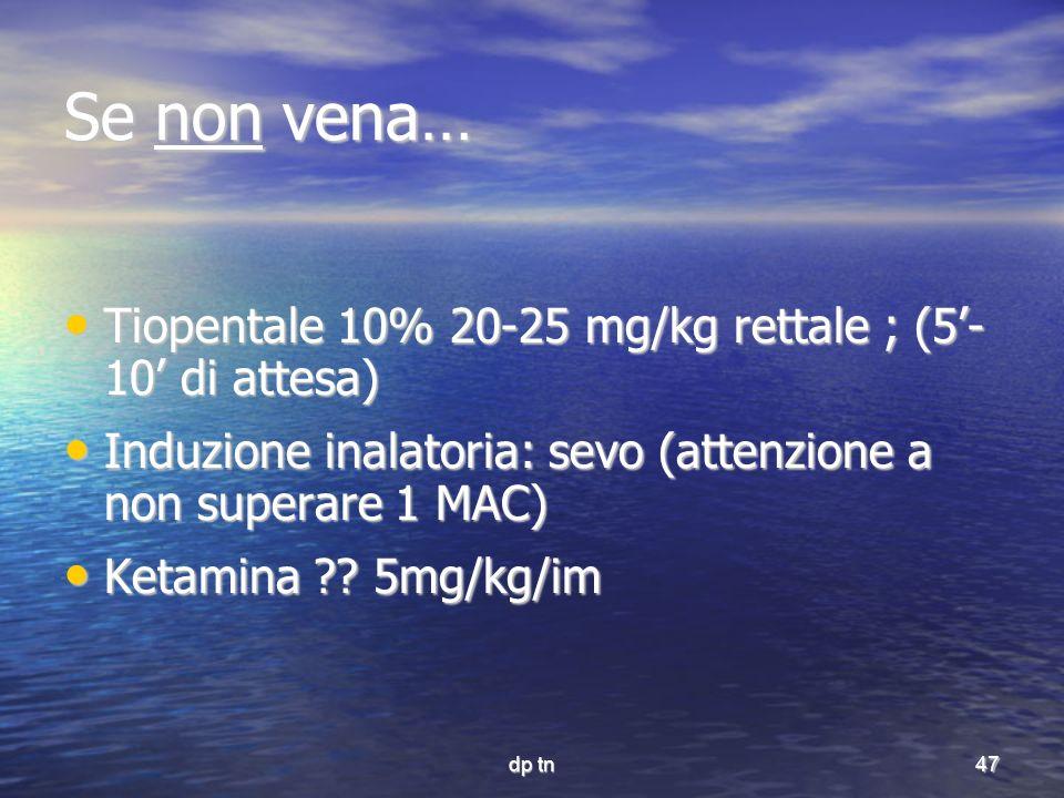 dp tn47 Se non vena… Tiopentale 10% 20-25 mg/kg rettale ; (5- 10 di attesa) Tiopentale 10% 20-25 mg/kg rettale ; (5- 10 di attesa) Induzione inalatori