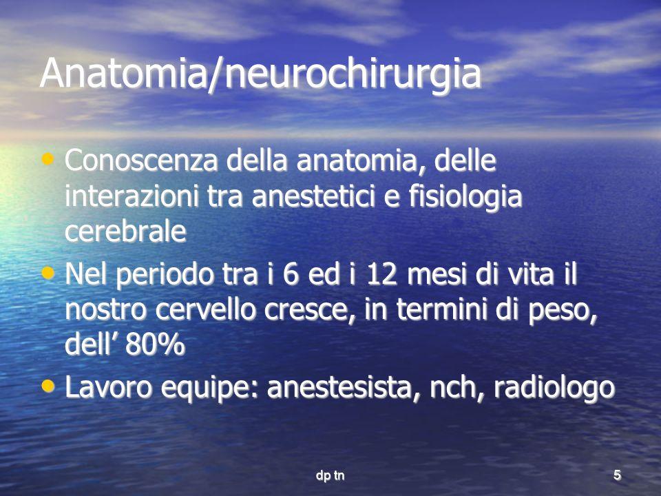 5 Anatomia/neurochirurgia Conoscenza della anatomia, delle interazioni tra anestetici e fisiologia cerebrale Conoscenza della anatomia, delle interazi