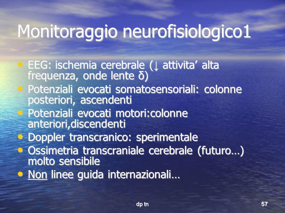 dp tn57 Monitoraggio neurofisiologico1 EEG: ischemia cerebrale ( attivita alta frequenza, onde lente δ) EEG: ischemia cerebrale ( attivita alta freque