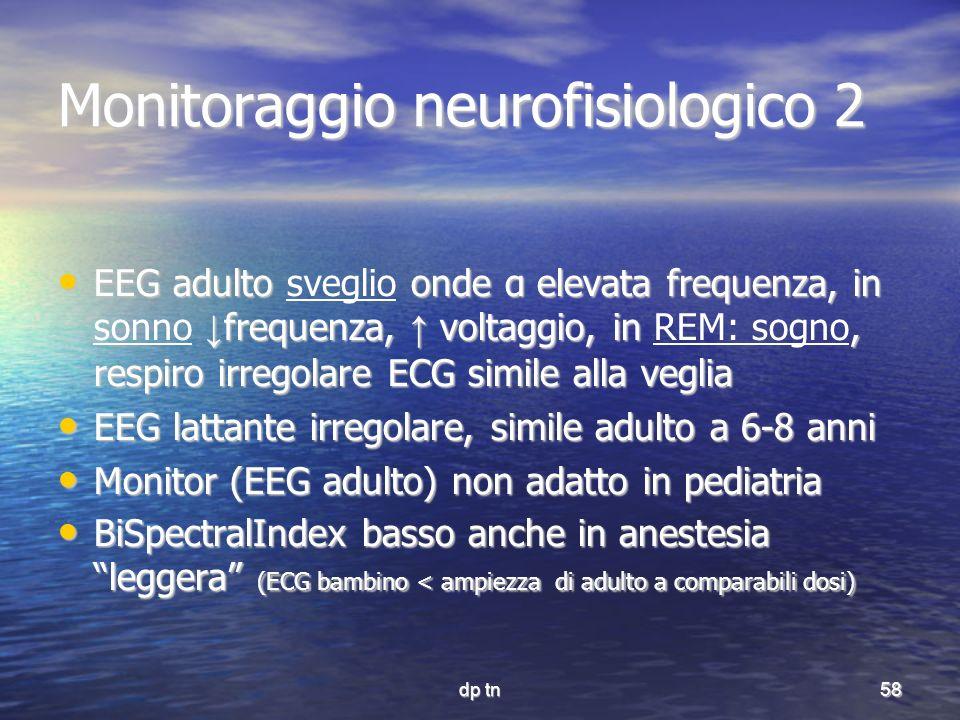 dp tn58 Monitoraggio neurofisiologico 2 EEG adulto onde α elevata frequenza, in frequenza, voltaggio, in, respiro irregolare ECG simile alla veglia EE