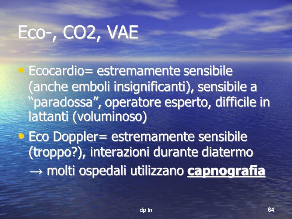 dp tn64 Eco-, CO2, VAE Ecocardio= estremamente sensibile (anche emboli insignificanti), sensibile a paradossa, operatore esperto, difficile in lattant