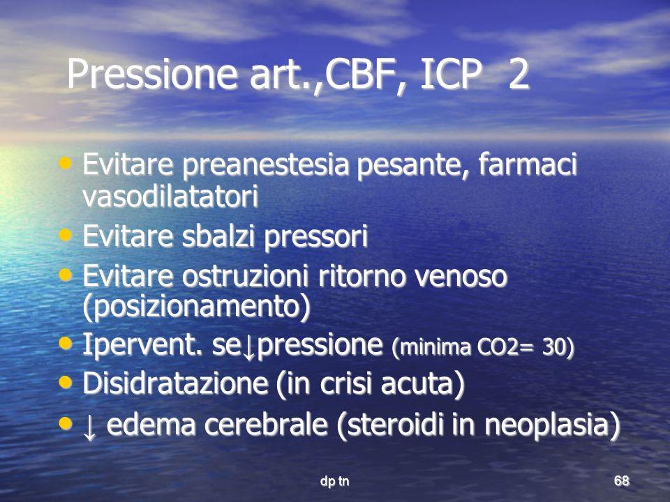 dp tn68 Pressione art.,CBF, ICP 2 Pressione art.,CBF, ICP 2 Evitare preanestesia pesante, farmaci vasodilatatori Evitare preanestesia pesante, farmaci