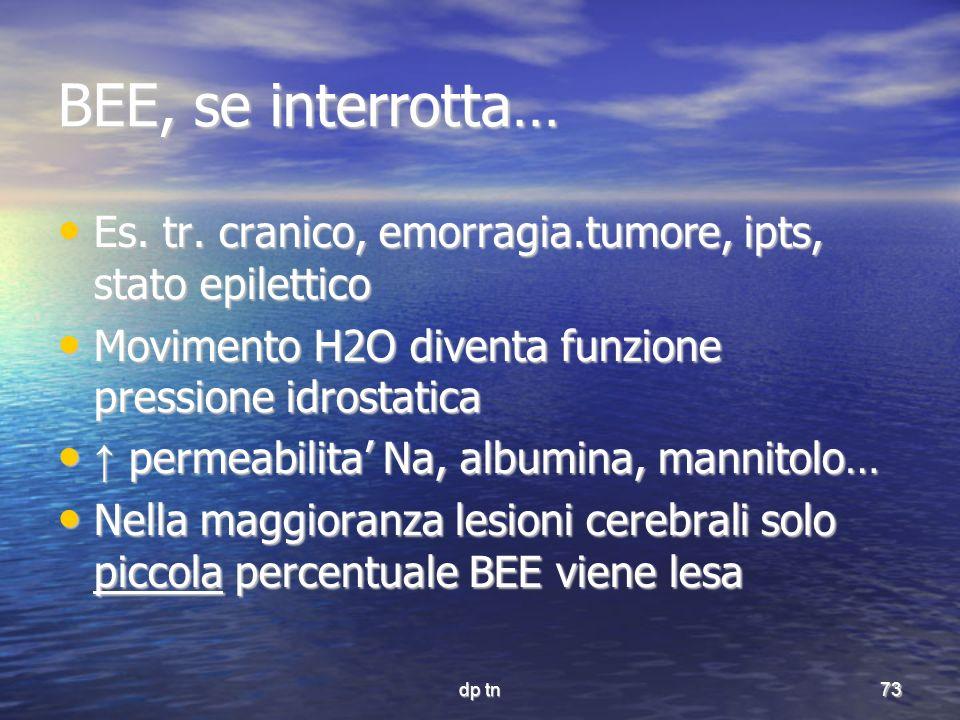dp tn73 BEE, se interrotta… Es. tr. cranico, emorragia.tumore, ipts, stato epilettico Es. tr. cranico, emorragia.tumore, ipts, stato epilettico Movime