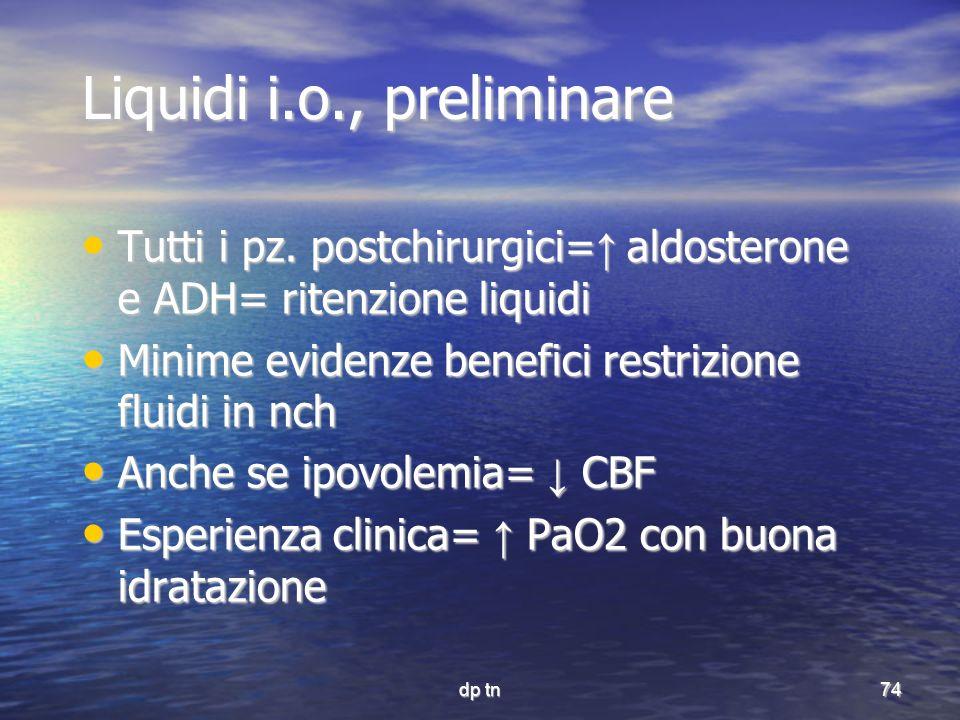 dp tn74 Liquidi i.o., preliminare Tutti i pz. postchirurgici= aldosterone e ADH= ritenzione liquidi Tutti i pz. postchirurgici= aldosterone e ADH= rit