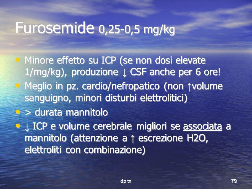 dp tn79 Furosemide 0,25-0,5 mg/kg Minore effetto su ICP (se non dosi elevate 1/mg/kg), produzione CSF anche per 6 ore! Minore effetto su ICP (se non d