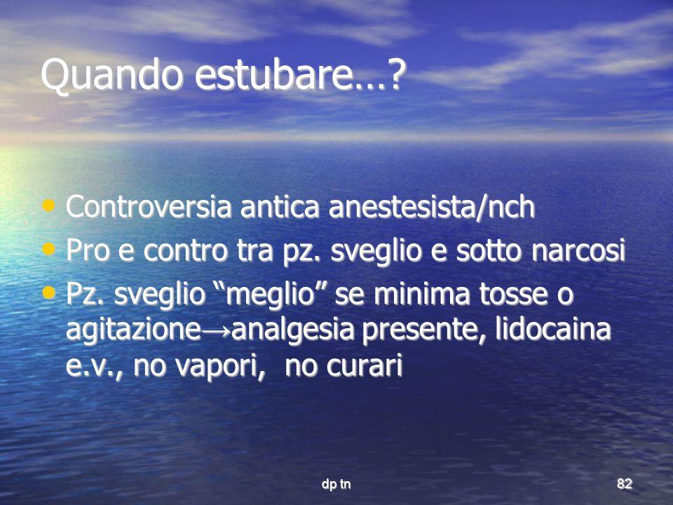 dp tn82 Quando estubare…? Controversia antica anestesista/nch Controversia antica anestesista/nch Pro e contro tra pz. sveglio e sotto narcosi Pro e c