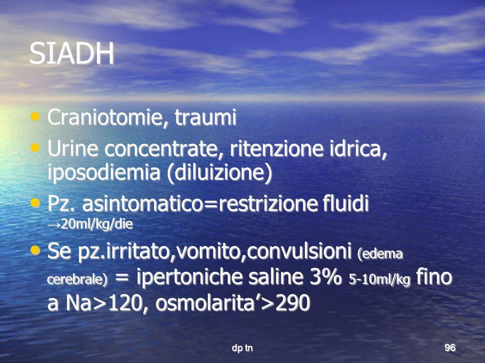 dp tn96 SIADH Craniotomie, traumi Craniotomie, traumi Urine concentrate, ritenzione idrica, iposodiemia (diluizione) Urine concentrate, ritenzione idr