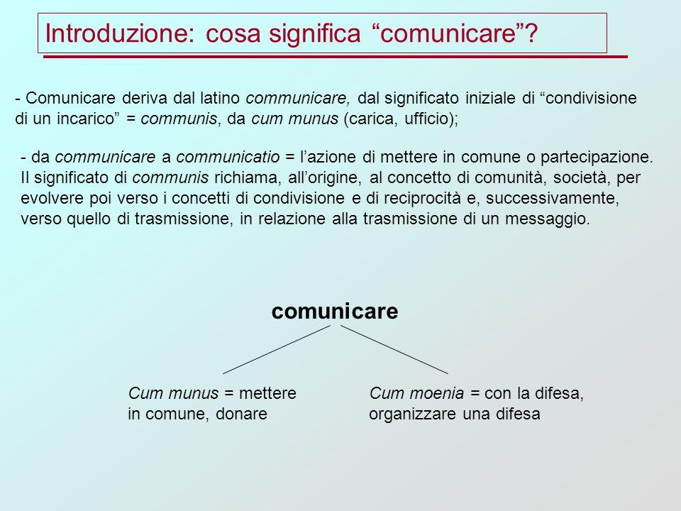 - Comunicare deriva dal latino communicare, dal significato iniziale di condivisione di un incarico = communis, da cum munus (carica, ufficio); - da communicare a communicatio = lazione di mettere in comune o partecipazione.