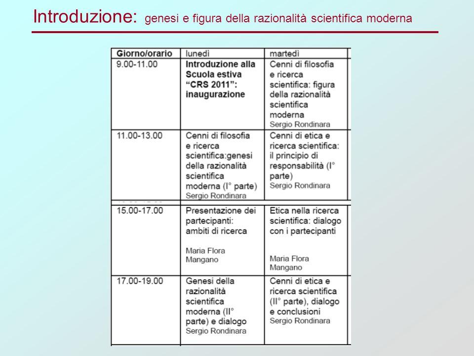 Introduzione: genesi e figura della razionalità scientifica moderna