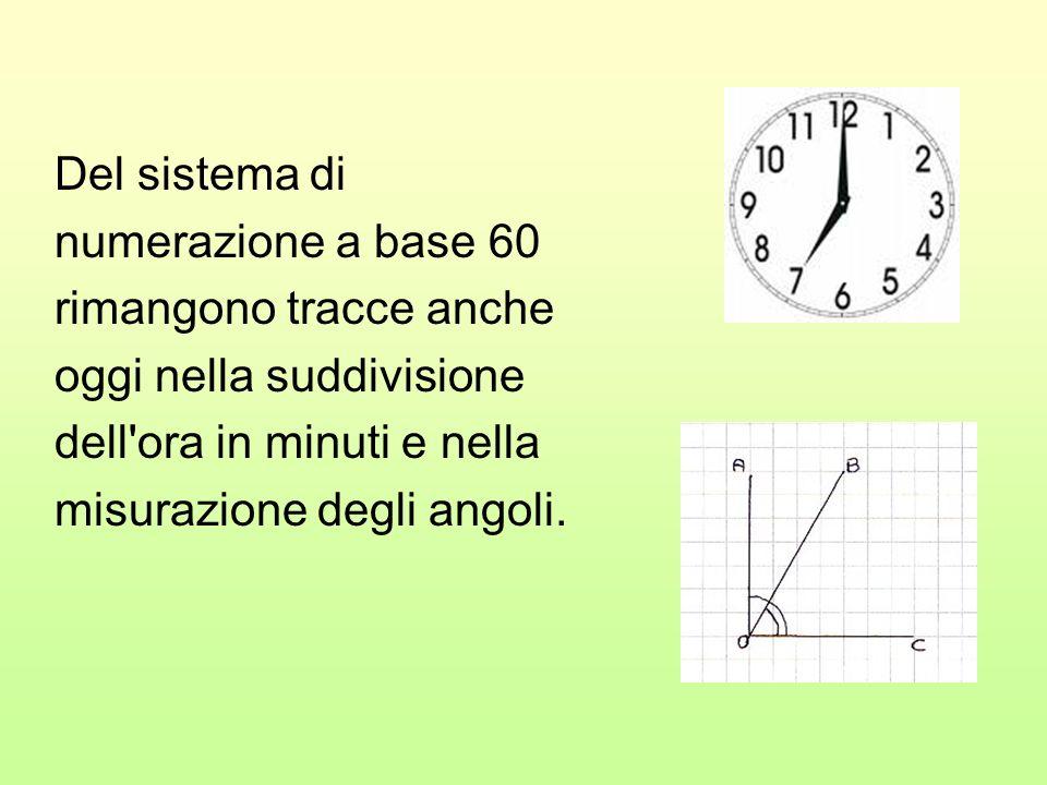Del sistema di numerazione a base 60 rimangono tracce anche oggi nella suddivisione dell'ora in minuti e nella misurazione degli angoli.