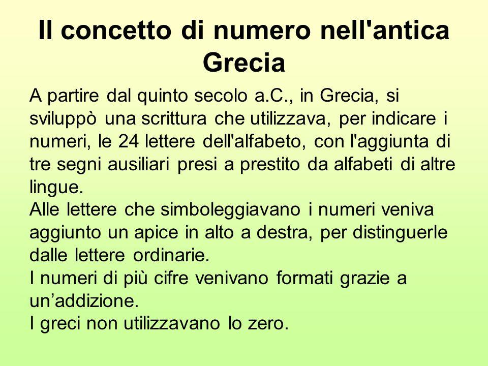 Il concetto di numero nell'antica Grecia A partire dal quinto secolo a.C., in Grecia, si sviluppò una scrittura che utilizzava, per indicare i numeri,