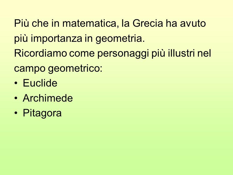 Più che in matematica, la Grecia ha avuto più importanza in geometria. Ricordiamo come personaggi più illustri nel campo geometrico: Euclide Archimede