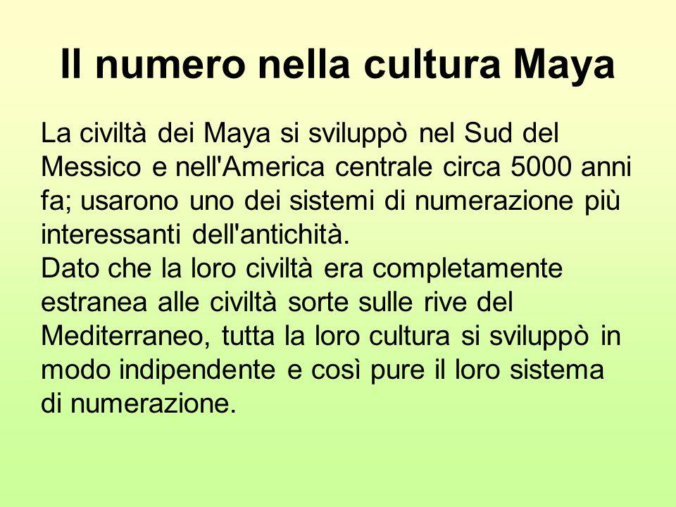 Il numero nella cultura Maya La civiltà dei Maya si sviluppò nel Sud del Messico e nell'America centrale circa 5000 anni fa; usarono uno dei sistemi d