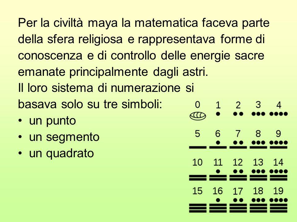 Per la civiltà maya la matematica faceva parte della sfera religiosa e rappresentava forme di conoscenza e di controllo delle energie sacre emanate pr