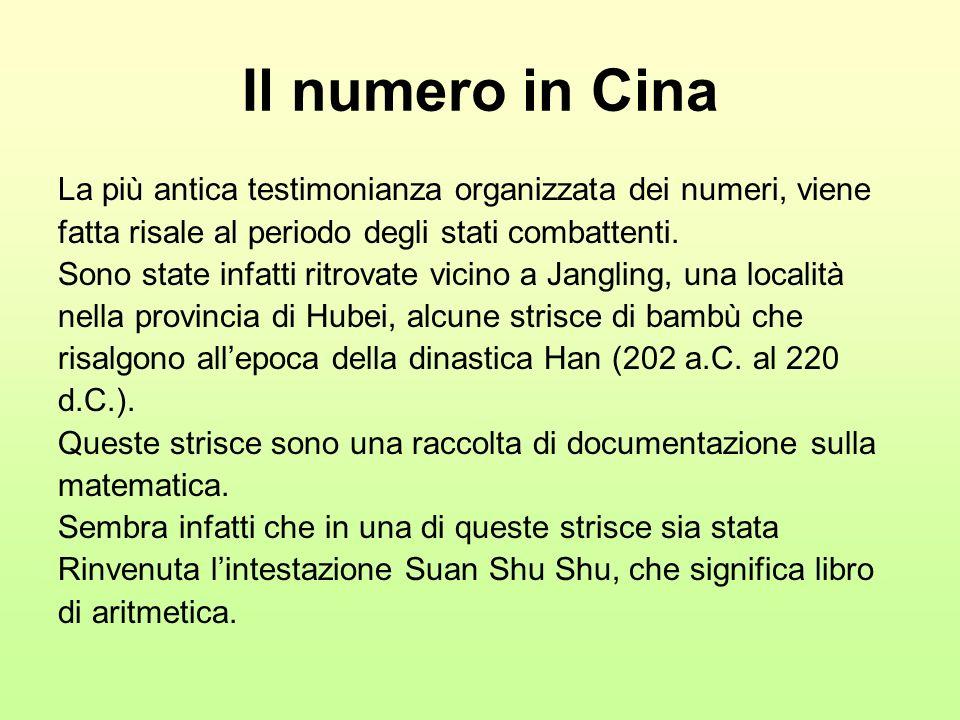 Il numero in Cina La più antica testimonianza organizzata dei numeri, viene fatta risale al periodo degli stati combattenti. Sono state infatti ritrov