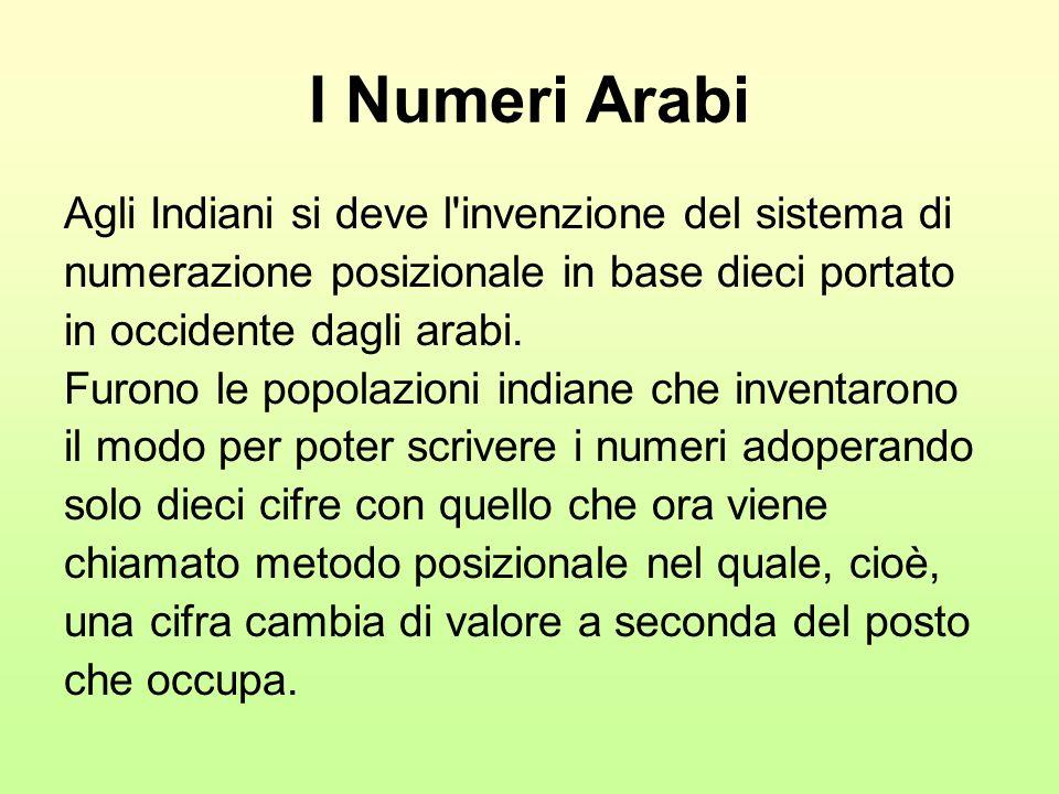 I Numeri Arabi Agli Indiani si deve l'invenzione del sistema di numerazione posizionale in base dieci portato in occidente dagli arabi. Furono le popo