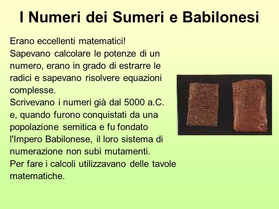 I Numeri dei Sumeri e Babilonesi Erano eccellenti matematici! Sapevano calcolare le potenze di un numero, erano in grado di estrarre le radici e sapev