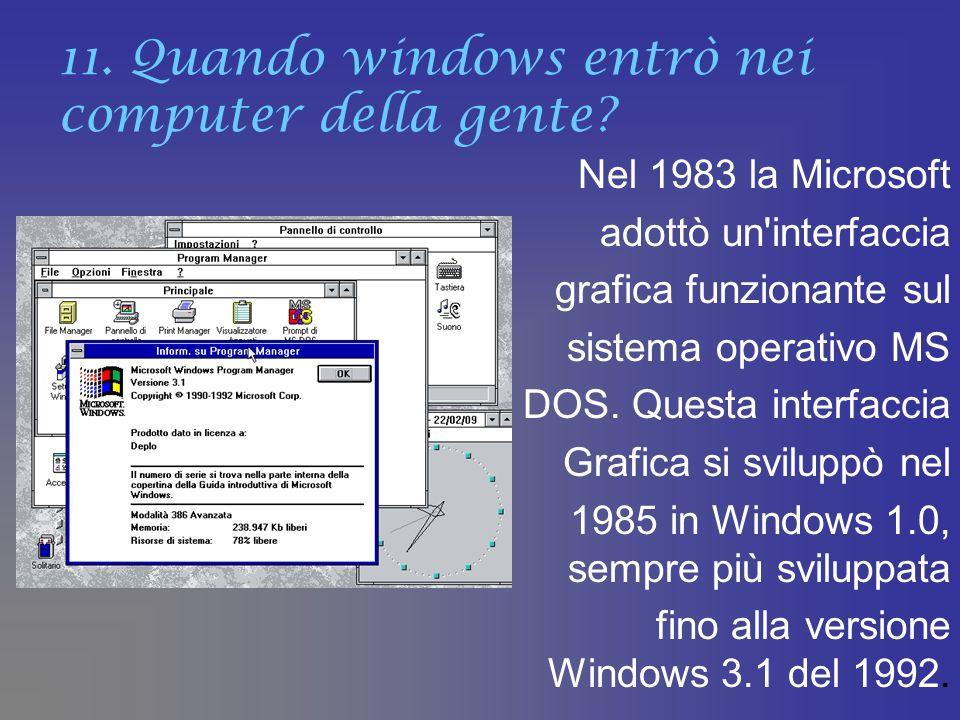 11. Quando windows entrò nei computer della gente? Nel 1983 la Microsoft adottò un'interfaccia grafica funzionante sul sistema operativo MS DOS. Quest