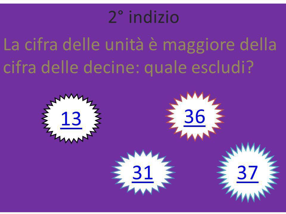 1° indizio Contiene la cifra 3: quale escludi 13 31 36 37 41