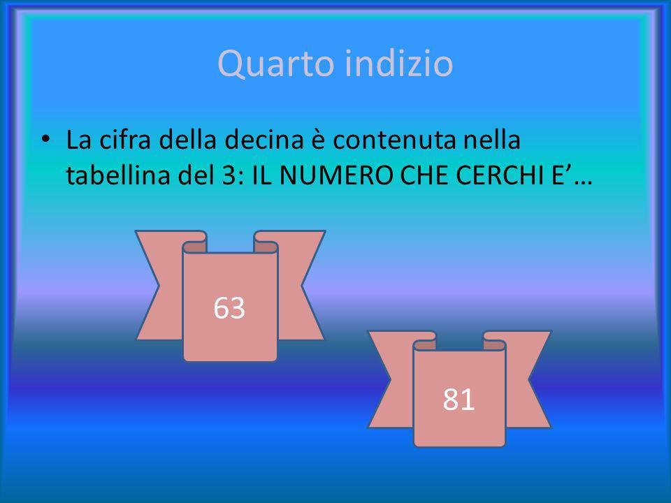 terzo indizio È contenuto nella tabellina del 9: QUINDI ESCLUDI… 63 69 81