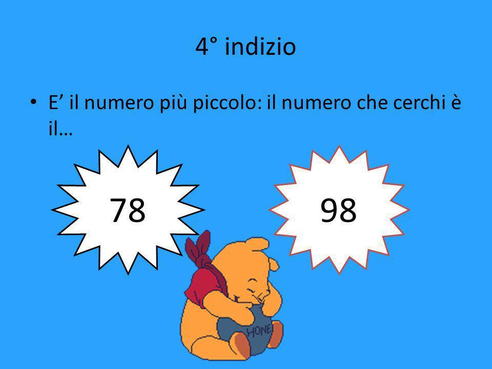3° indizio Non ha le cifre di decina e unità uguali: quale escludi 78 88 98